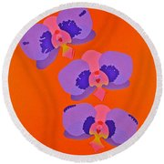 Round Beach Towel featuring the mixed media Three Orchids by Michele Myers