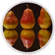 Three Pears Round Beach Towel
