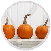 Three Pumpkins Round Beach Towel