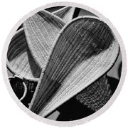 Three Reed Baskets Round Beach Towel