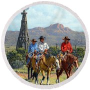 Three Riders Round Beach Towel