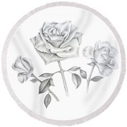 Round Beach Towel featuring the drawing Three Roses by Elizabeth Lock
