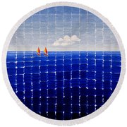 Three Sail Boats #2 Round Beach Towel