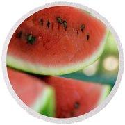 Three Slices Of Watermelon Round Beach Towel
