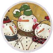 Three Snowmen Round Beach Towel by Anne Tavoletti