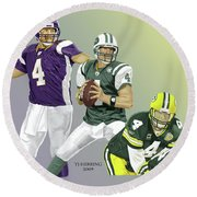 Round Beach Towel featuring the digital art Three Stages Of Bret Favre by Thomas J Herring