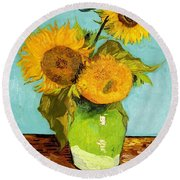 Three Sunflowers In A Vase Round Beach Towel