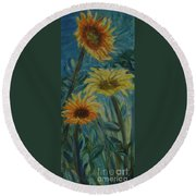 Three Sunflowers - Sold Round Beach Towel