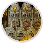 Three Tiers - Sagrada Familia At Night - Gaudi Round Beach Towel