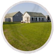 Three Weathered Farm Buildings Round Beach Towel