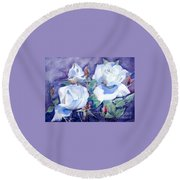 Round Beach Towel featuring the painting White Roses With Red Buds On Blue Field by Greta Corens