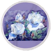 White Roses With Red Buds On Blue Field Round Beach Towel