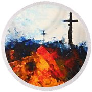 Three Wooden Crosses Round Beach Towel