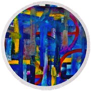 Round Beach Towel featuring the painting Anchored In Art by Lisa Kaiser