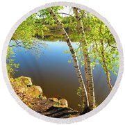 Through The Birch Round Beach Towel by MTBobbins Photography