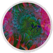 Round Beach Towel featuring the digital art Through The Electric Garden by Elizabeth McTaggart