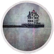 Through The Evening Mist Round Beach Towel