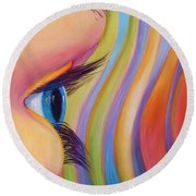 Round Beach Towel featuring the painting Through The Eyes Of A Child by Sandi Whetzel