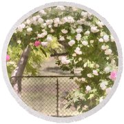 Through The Rose Arbor Round Beach Towel by Elaine Teague
