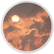 Round Beach Towel featuring the photograph Through The Smoke by Melanie Lankford Photography