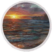 Through The Vog - Hawaii Beach Sunset Round Beach Towel