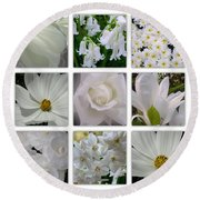 Through The White Picture Window Round Beach Towel