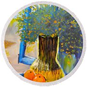 Round Beach Towel featuring the painting Through The Window by Pamela  Meredith