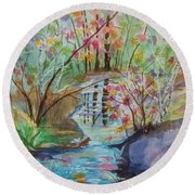 Round Beach Towel featuring the painting Thunder Mountain Mystery by Ellen Levinson
