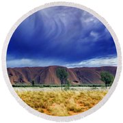Round Beach Towel featuring the photograph Thunder Rock by Holly Kempe