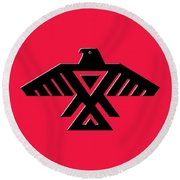 Thunderbird Emblem Of The Anishinaabe People Black On Red Version Round Beach Towel