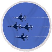 Round Beach Towel featuring the photograph Thunderbirds Diamond Formation Undersides by Donna Corless