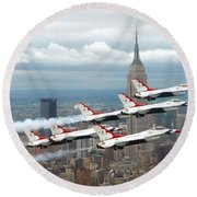 Thunderbirds Over New York City Round Beach Towel