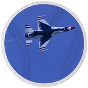 Round Beach Towel featuring the photograph Thunderbirds Solo Underside by Donna Corless