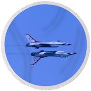 Round Beach Towel featuring the photograph Thunderbirds Solos 6 Over 5 Inverted by Donna Corless