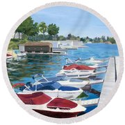 Round Beach Towel featuring the painting T.i. Park Marina by Lynne Reichhart