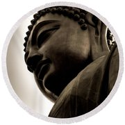 Tian Tan Buddha Portrait Round Beach Towel