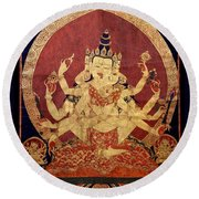 Tibetan Art Round Beach Towel