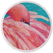 Round Beach Towel featuring the painting Tickled Pink by Susan DeLain