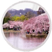 Tidal Basin Cherry Trees And Arlington House Round Beach Towel by Patti Whitten
