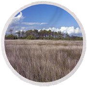 Round Beach Towel featuring the photograph Tidal Marsh On Roanoke Island by Greg Reed