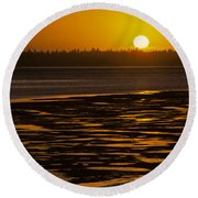 Tidal Pattern At Sunset Round Beach Towel by Jeff Goulden
