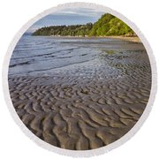 Tidal Pattern In The Sand Round Beach Towel by Jeff Goulden