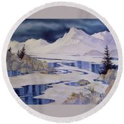 Tidal Patterns Iv Round Beach Towel