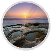 Tide Pool Sunset Round Beach Towel by Michael Ver Sprill