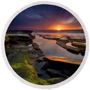 Tidepool Sunsets Round Beach Towel