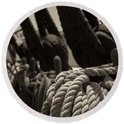 Tied Up Black And White Sepia Round Beach Towel