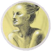 Tiffany Portrait Round Beach Towel