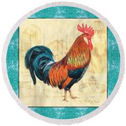 Tiffany Rooster 1 Round Beach Towel by Debbie DeWitt