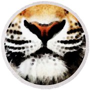 Tiger Art - Burning Bright Round Beach Towel