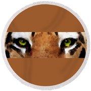 Tiger Art - Hungry Eyes Round Beach Towel
